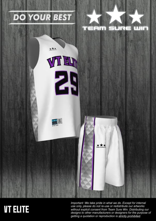 sublimation basketball uniforms VT Elite