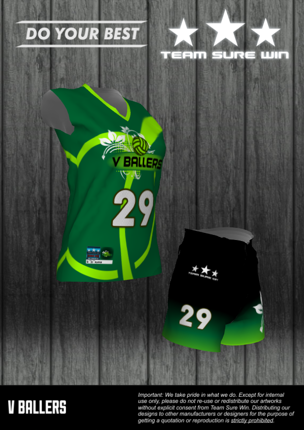 V Ballers Volleyball Team Sublimation Uniforms Green