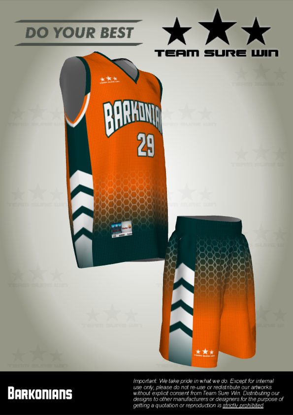 Barkonians Basketball Uniforms